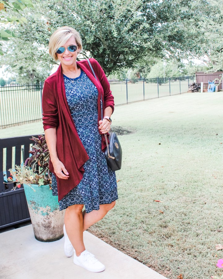 Michael Michael Kors Dress styled with B Collection Cardigan