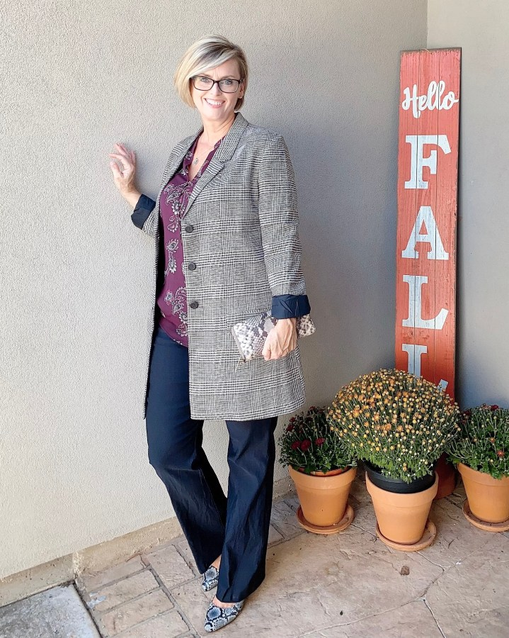 Plaid jacket, Paisley Top and Trousers