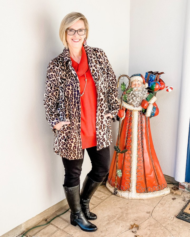 Leopard Coat and red tunic styled with boots
