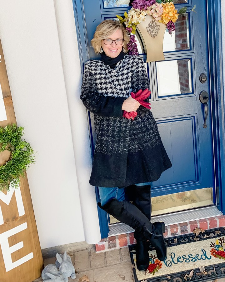 Plaid Coat with over the knee boots