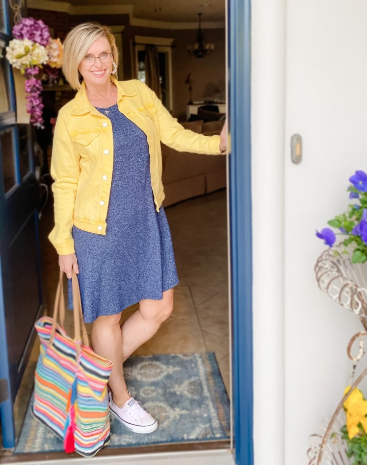 Yellow Denim Jacket & Blue Dress