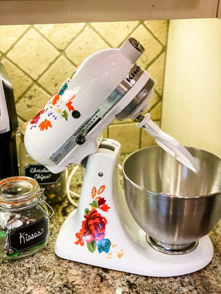 KitchenAid Stand Mixer with floral stickers