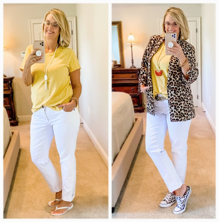 leopard jacket styled with white jeans and yellow top