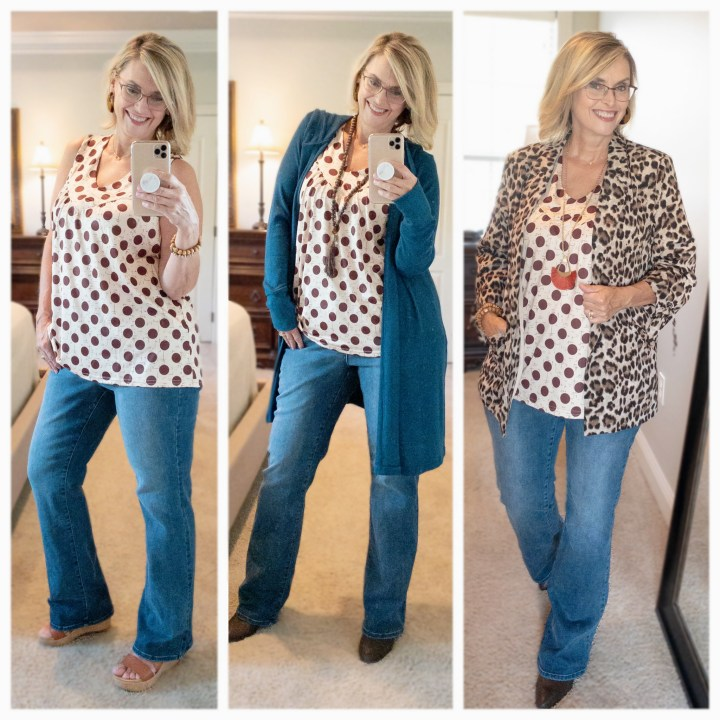 polka dot top with leopard blazer and teal sweater