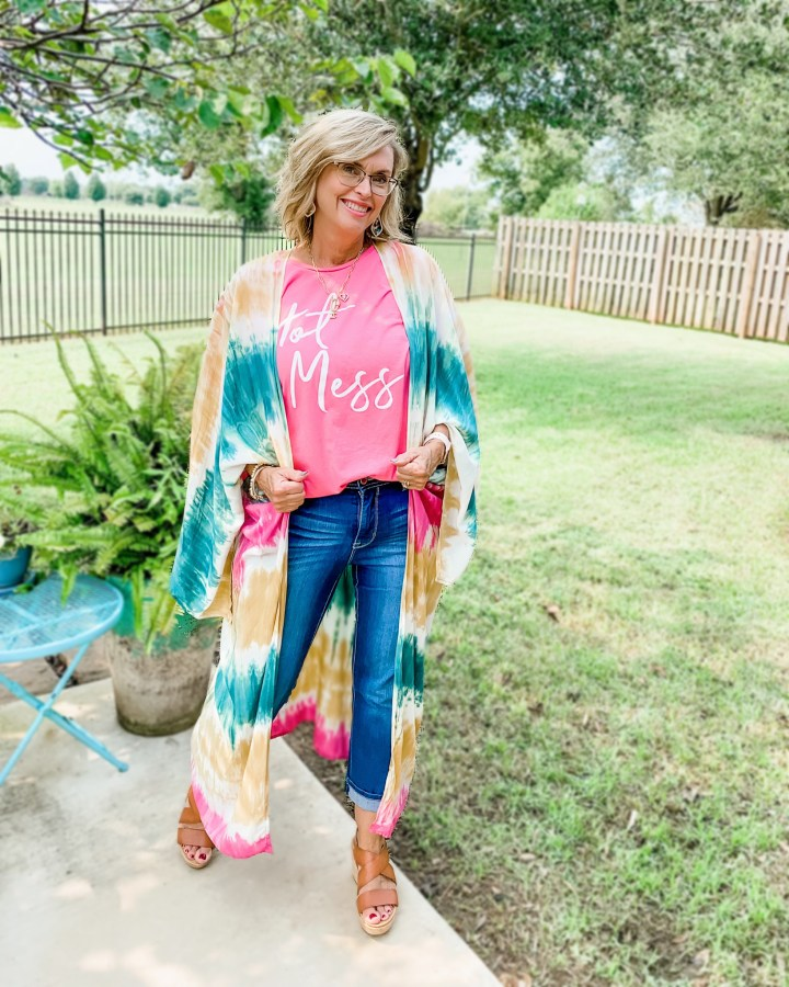 Tie-Dye Duster & graphic Tee Outfit
