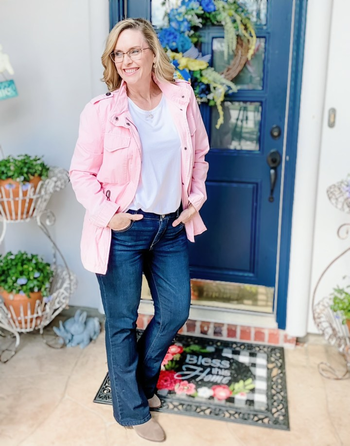 Styling a Simple White Tee With a cargo jacket