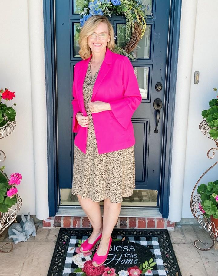 Faux-Wrap Dress with Pink blazer