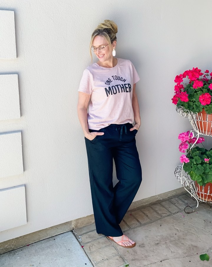 graphic tee and linen pants