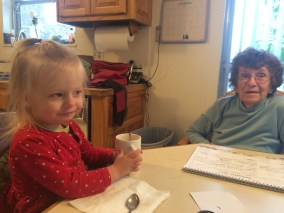 Enjoy her first cup of hot chocolate before Grandma Ruth broke her hip!