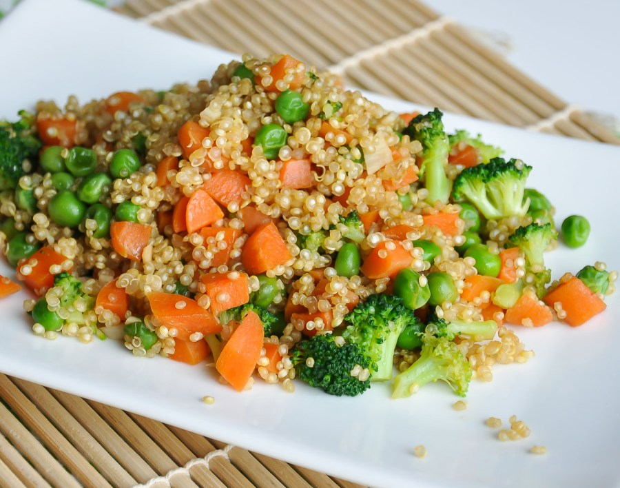 Vegetarian Quinoa Fried Rice with Broccoli, Peas, and Carrots