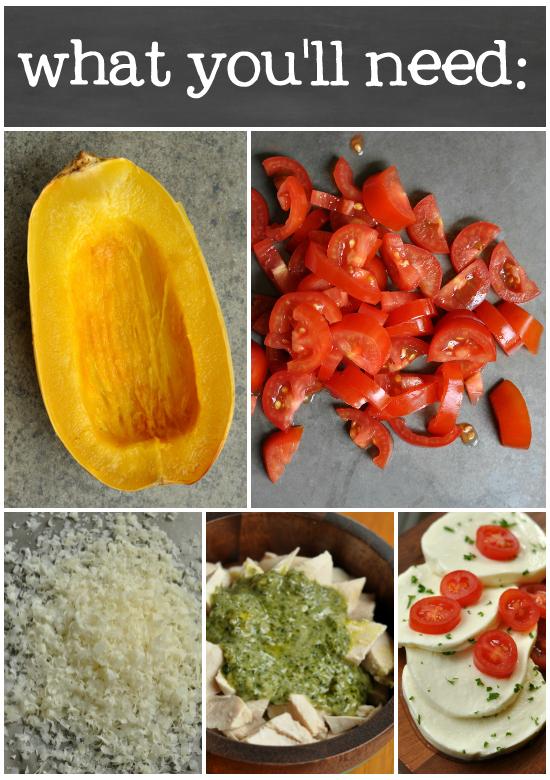 Cheesy Pesto Chicken Lasagna Stuffed Spaghetti Squash: the ingredients