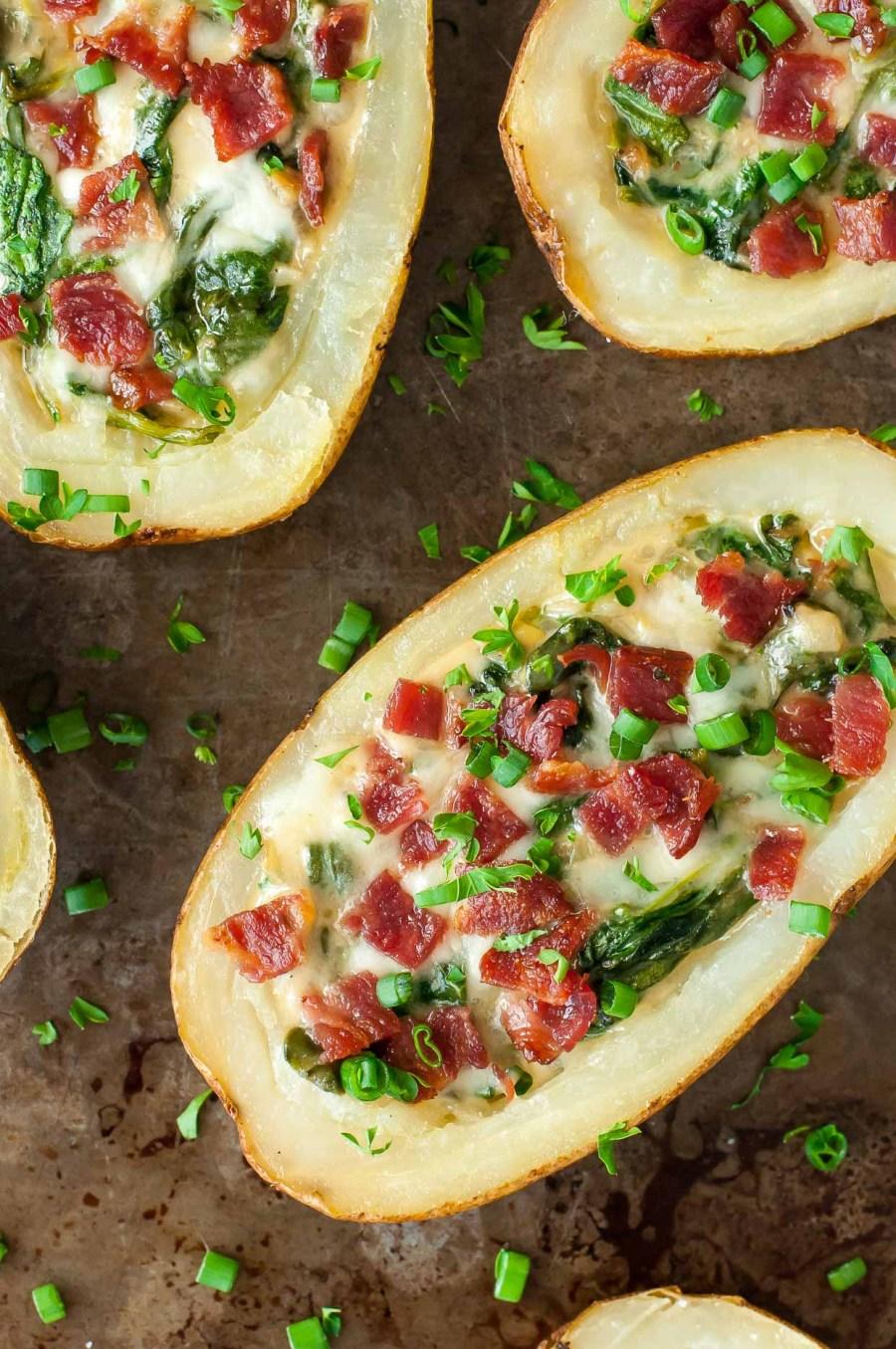 Spinach Artichoke Potato Skins