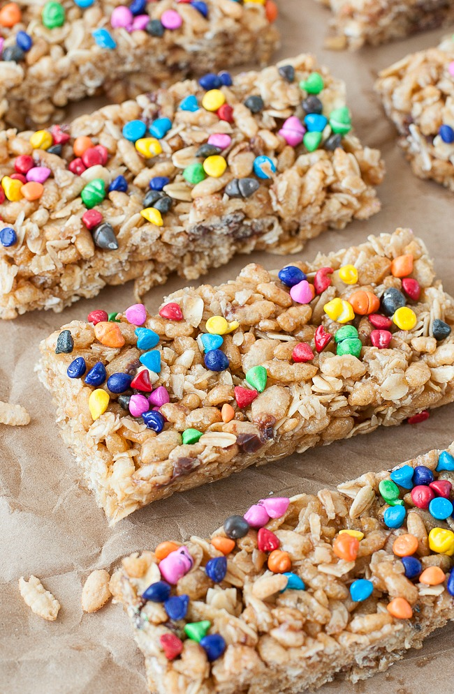 Chewy No Bake Rainbow Chip Granola Bars