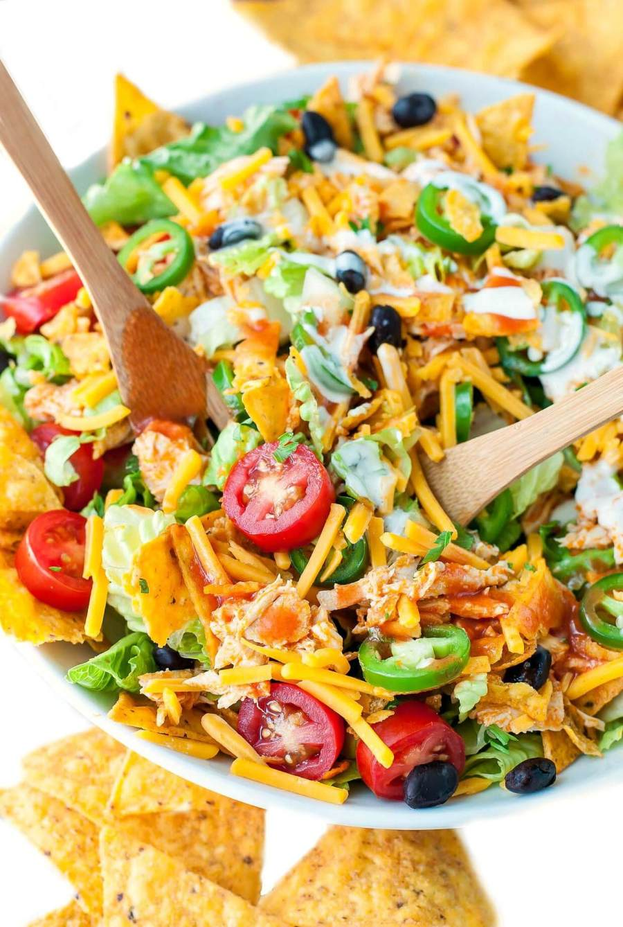 Your plate called. It wants you to make this Buffalo Chicken Taco Salad, stat! This is totally my new favorite way to use up leftover chicken!