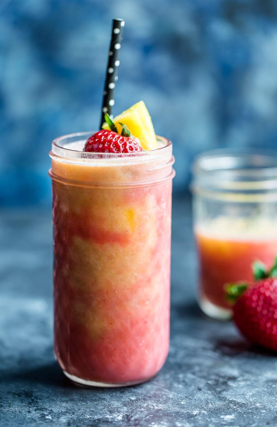 Tropical Pineapple Strawberry Swirl Smoothie with Yogurt and Honey