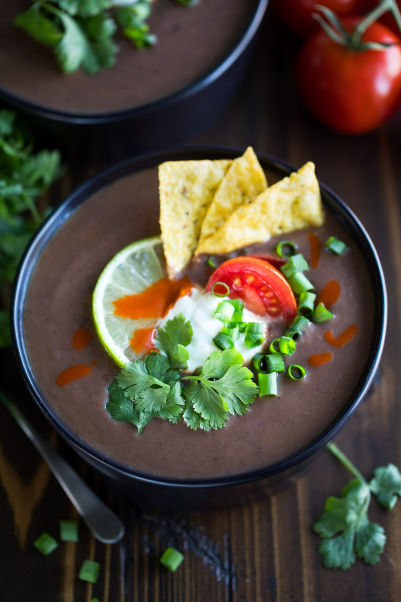 Black Bean Soup with Toppings