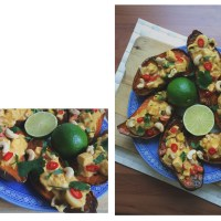 Thai Green Curry Stuffed Sweet Potatoes.