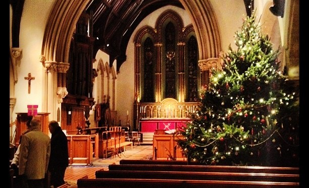 St Mary's Reading has a rather big Christmas Tree #stmarys #reading #christmastree