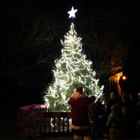 The Arborfield Green Christmas Lights well and truly turned on.