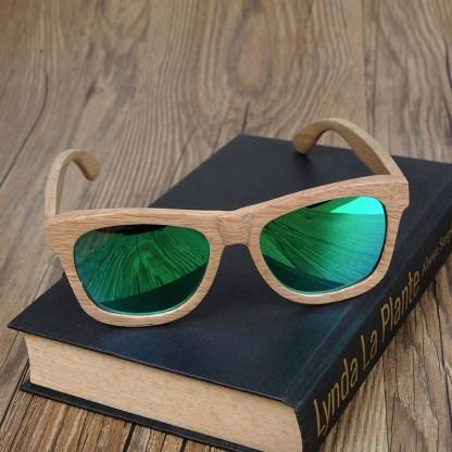 Ochelari de soare din bambus Bobo Bird, lentila verde