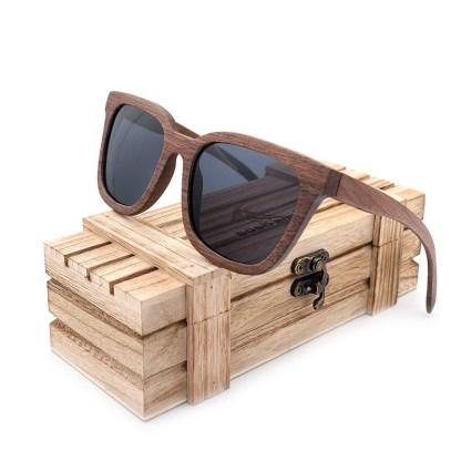 Ochelari de soare din lemn Bobo Bird, lentila neagra