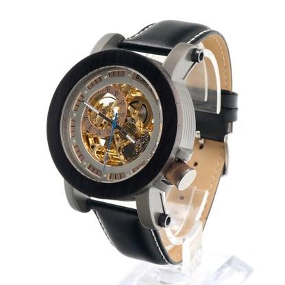 Ceas din lemn Bobo Bird mecanic negru