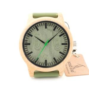 Ceas din bambus Bobo Bird cu curea din silicon