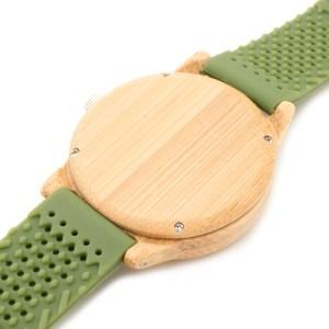 Ceas din bambus Bobo Bird verde cu curea din silicon