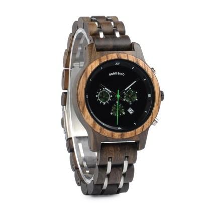 Ceas din lemn Bobo Bird cu curea din lemn, verde11