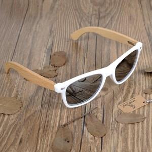Ochelari de soare din lemn Bobo Bird alb lentila gri