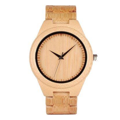 Ceas din bambus Bobo Bird cu curea din lemn D19