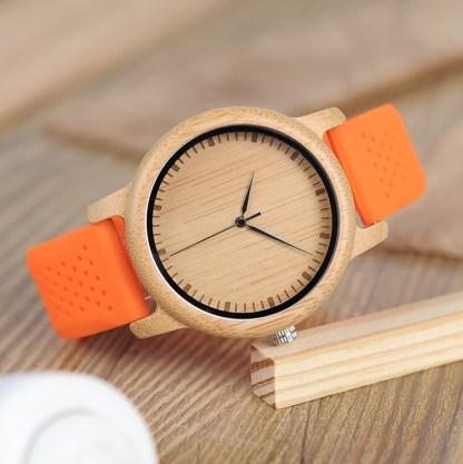 Ceas din lemn Bobo Bird cu curea din silicon portocaliu