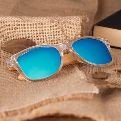 Ochelari de soare Bobo Bird din lemn de bambus transparent, lentila albastru