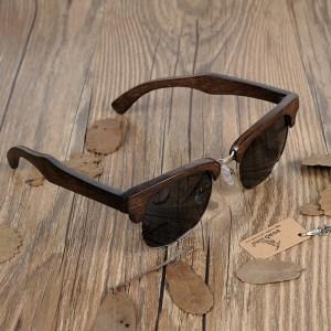 Ochelari de soare din lemn Bobo Bird jumatate de rama