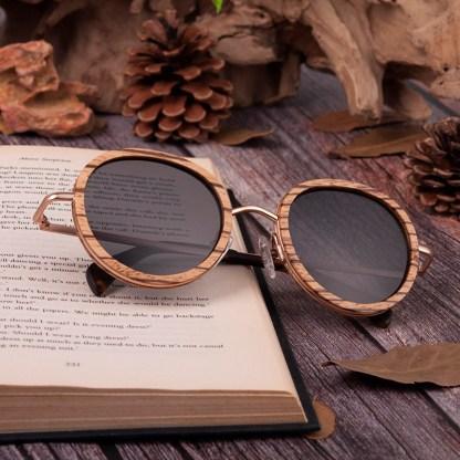 Ochelari de soare din lemn Bobo Bird, lentila rotunda