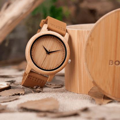 Ceas din bambus si curea din piele, A09