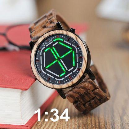 Ceas din lemn Bobo Bird led, P13 verde