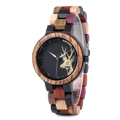 Ceas din lemn Bobo Bird cu curea din lemn, P14-3