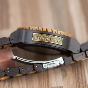 Ceas din lemn ecanic cu curea din lemn