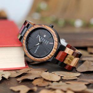 Ceas din lemn Bobo Bird cu curea din lemn P14-1