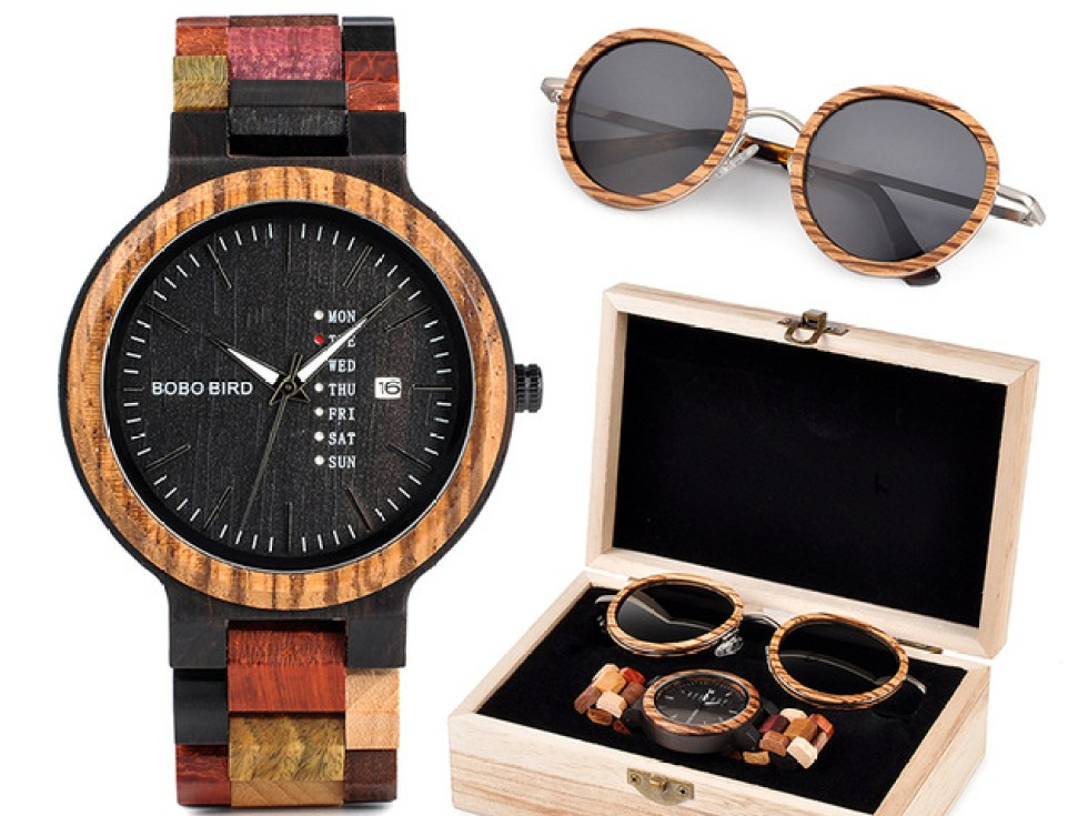 Set ceas din lemn Bobo Bird P14-1 si ochelari de soare din lemn
