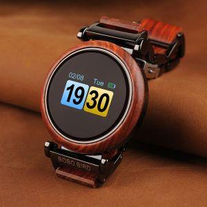 Smartwatch din lemn Bobo Bird, R27 rosu