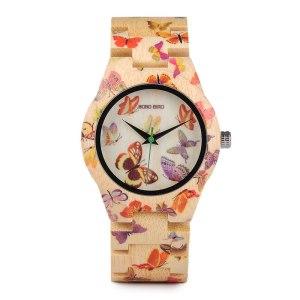 Ceas din lemn Bobo Bird cu fluturi si curea din lemn
