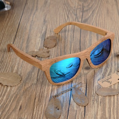 Ochelari de soare din lemn Bobo Bird BG003 lentila albastra