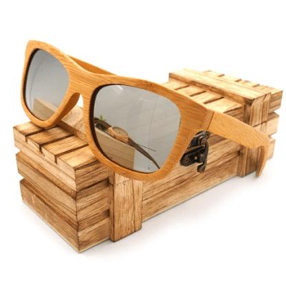 Ochelari de soare din lemn Bobo Bird BG003, lentila argintie