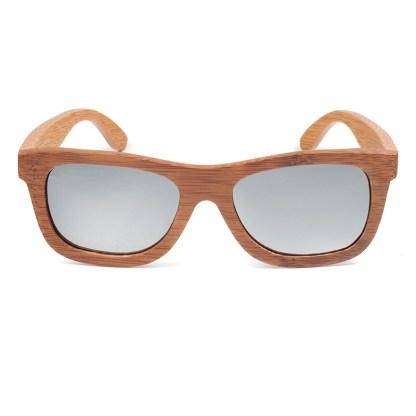 Ochelari de soare din lemn cu lentila argintie