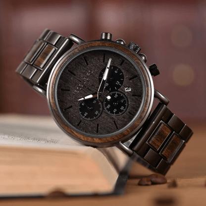Ceas din lemn Bobo Bird cu curea din lemn gri