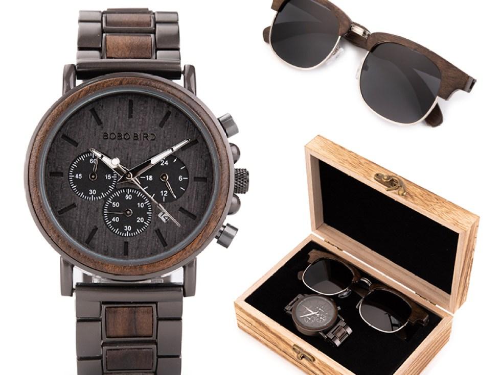 Set ceas din lemn Bobo Bird Q26 si ochelari de soare din lemn