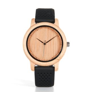 Ceas din bambus Bobo Bird cu curea din silicon negru, B08