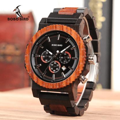 Ceas din lemn Bobo Bird cu curea din lemn R15